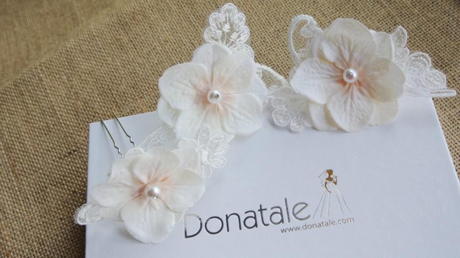 Hochzeit - Bridal Headpiece Jewelry Flower Hair Pins Vintage Inspired Bridal Hair