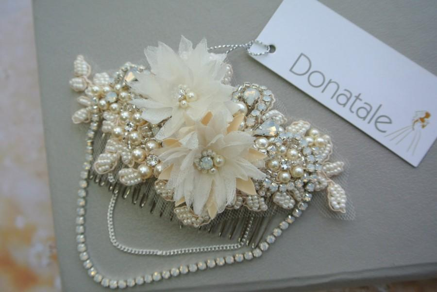Hochzeit - Wedding Hair Piece  Rustic  Lace Hair Comb Lace Headpiece Beaded Lace Hair piece Opal Hair comb Champagne  Bridal headpiece -KIM