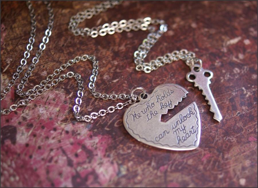 Wedding - He Who Holds the Key Necklace Set-Silver Heart/Key Pendant Jewelry Gorgeous TWO NECKLACES- Perfect BoyFriend, Girlfriend Jewelry