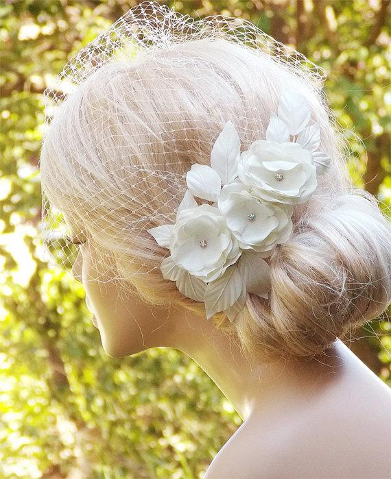 Wedding - Ivory Birdcage Veil, Wedding Hairstyles, Wedding Fascinator, Bridal hair piece, Bridal Headpiece, Ivory Fascinator, Bridal Hairstyles