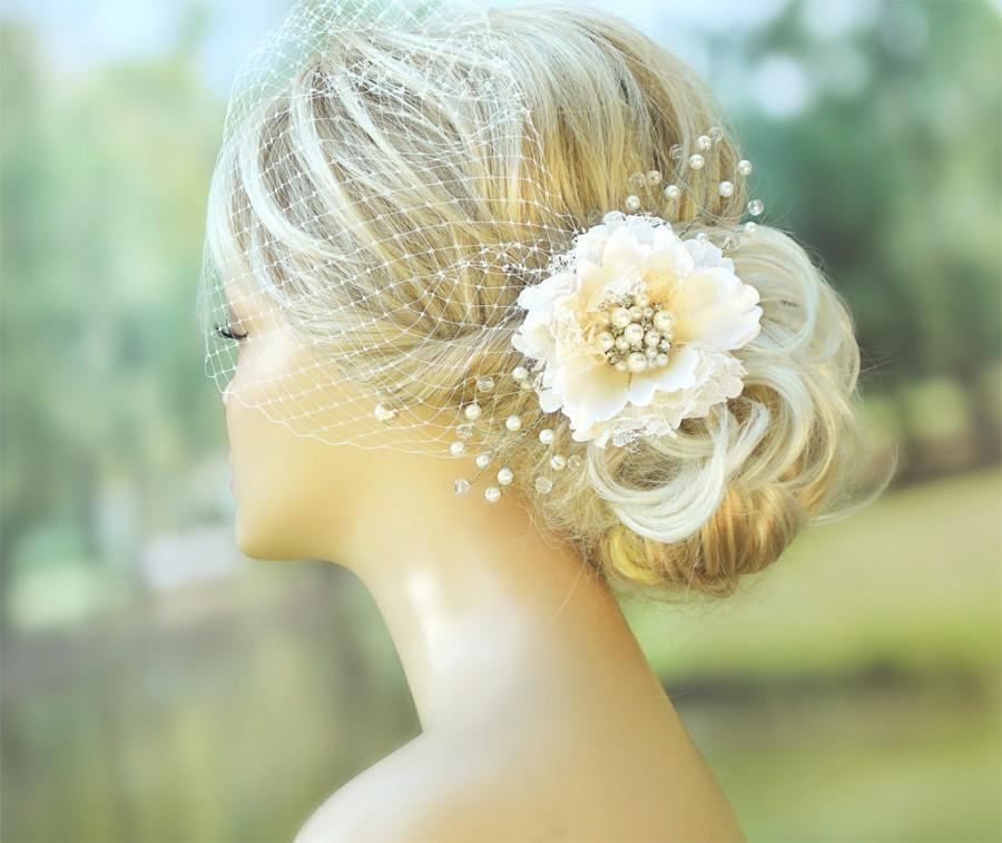 Hochzeit - Bridal Birdcage Veil Wedding Hairstyles Bridal hair Wedding Fascinator Bridal Headpiece Hair flower clip Ivory fascinator Bridal Hairstyles