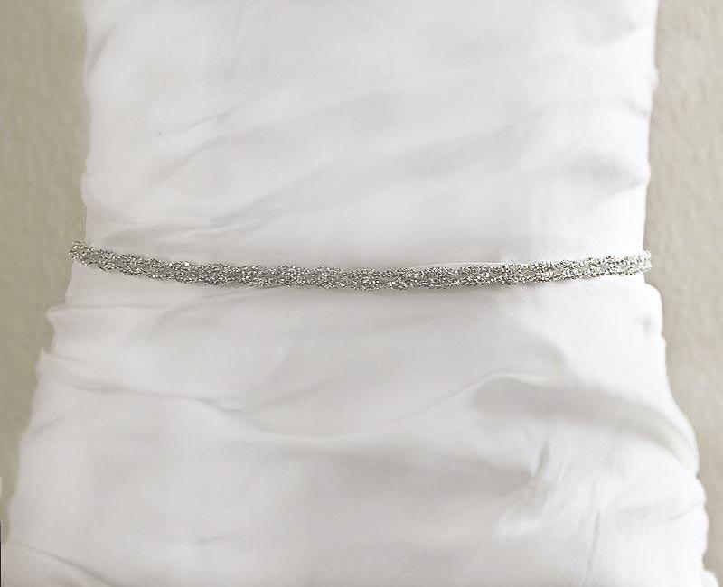 Wedding - Bridal Wedding Sash, Silver Wedding Belt, Rhinestone White Satin Wedding Sash , Wedding Accessories- BT006