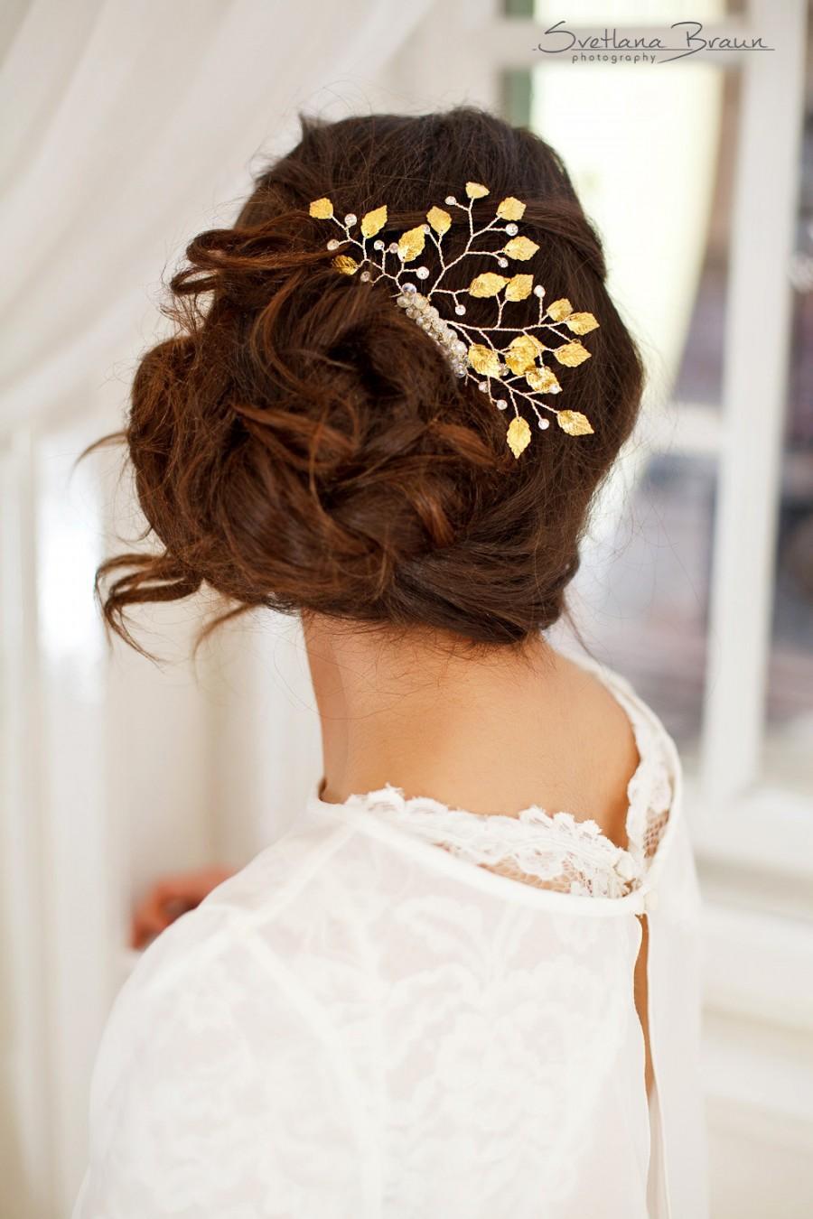 زفاف - Wedding Leaf Comb, Gold Leaves Bridal Comb, Rhinestone Bridal Comb, Gold Bridal Hair vine, Leaf Hair Piece, Grecian Comb, Bridal Headpiece