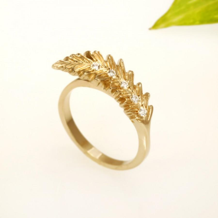 Hochzeit - 14K Gold Engagement Ring, Diamond Engagement, Delicate Ring, Diamond Ring, Statement rings, Feather Engagement Ring, Gift for her,  RG-1116