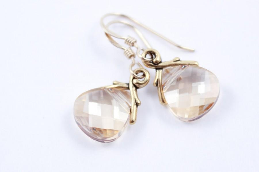 Hochzeit - Bridesmaid Earrings Crystal Golden Shadow Wedding Earrings in Gold or Silver