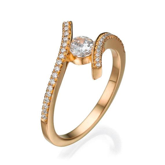Hochzeit - Engagement ring - Promise ring - Statement ring - Wedding ring - Diamond ring - Rose gold ring - Bridal ring - 14k gold ring