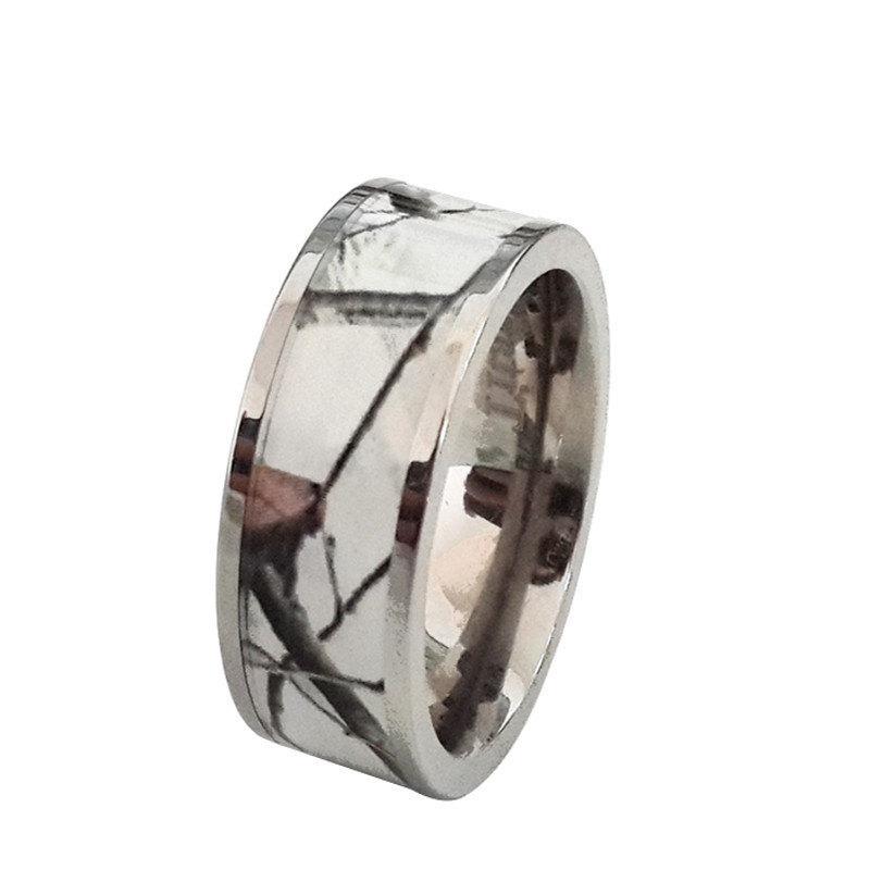 Hochzeit - Unisex Titanium Snow Camo White Wedding Ring Band Outdoor Camouflage