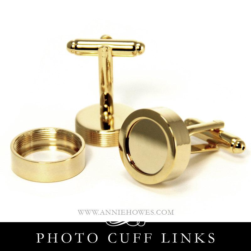 Wedding - Gold Photo Cuff Links. Make Your Own DIY Custom Photo Cuff Links for the Wedding Party. Annie Howes.
