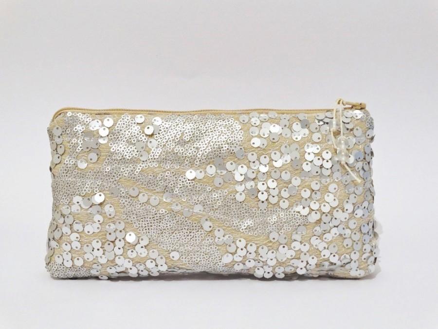 Mariage - Wedding Clutch Silver Sequins, Glam Clutch for Bride, Silver Nude Bridal Purse, Statement Purse