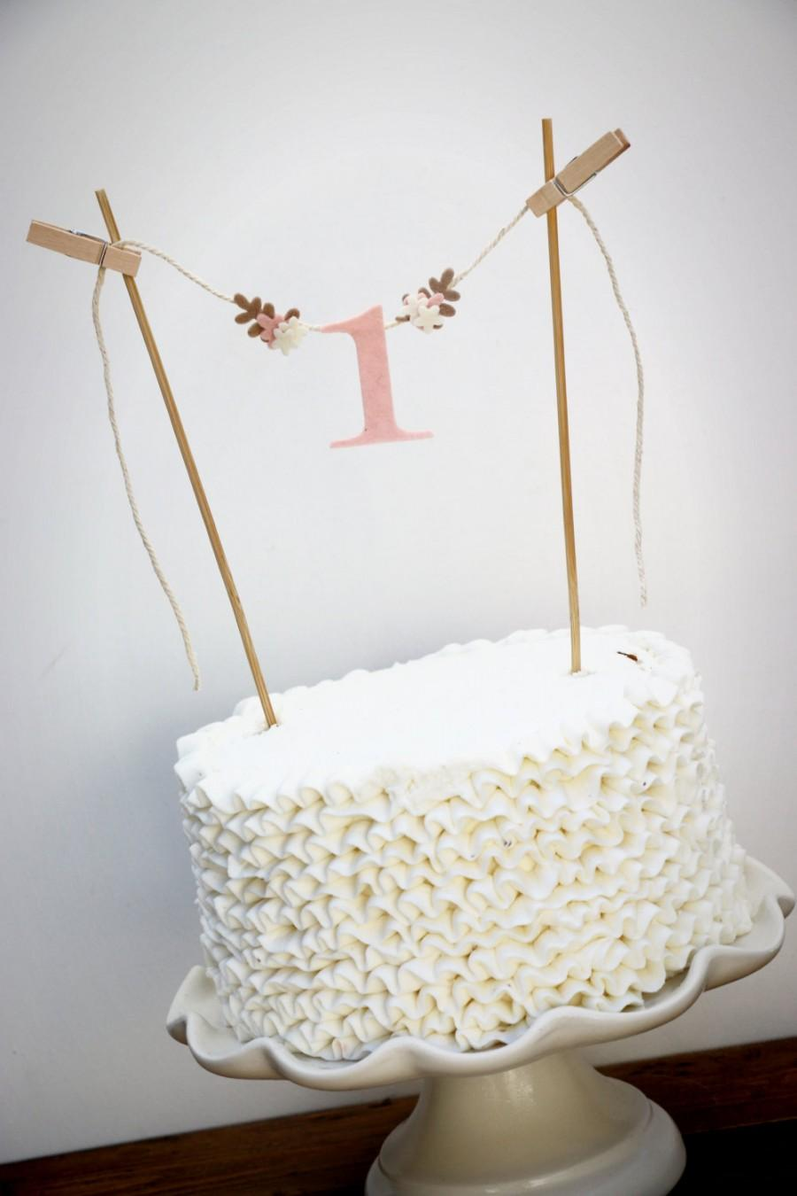 First Birthday Cake Banner One Smash Topper