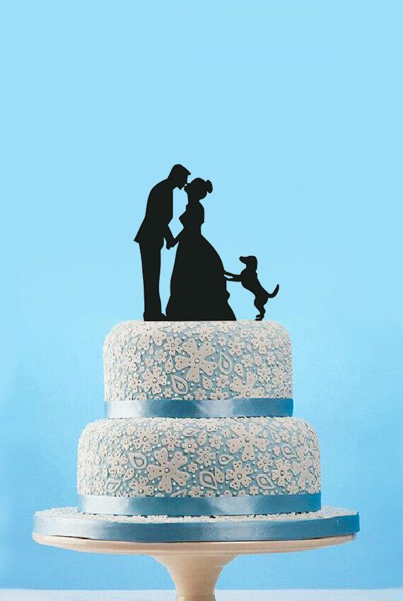 Hochzeit - Funny Wedding Cake Topper-Silhouette Cake Topper With Dog- Cake Topper-Bridal Shower Wedding Cake Topper-Rustic Bride and Groom Cake Topper