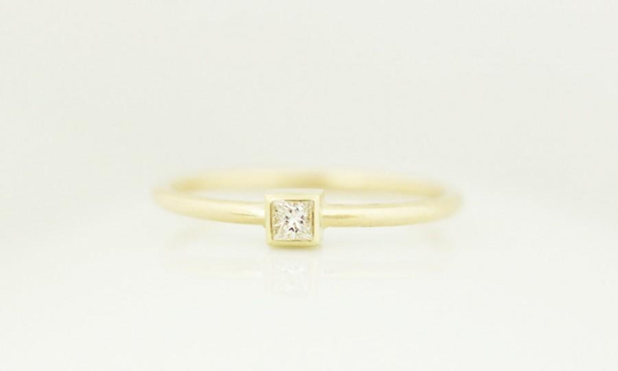 Wedding - Princess Cut Diamond Bezel Engagement Ring In 14k Solid Gold,Thin Band Dainty Simple Engagement Ring,Stacking Gold Ring