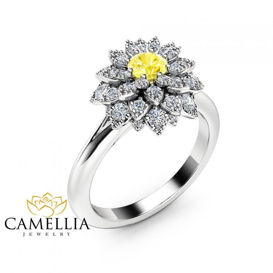 Wedding - Yellow Diamond Flower Engagement Ring 14K White Gold Fancy Diamond Ring Unique Yellow Diamond Engagement Ring