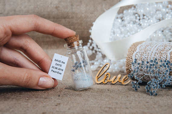 Mariage - Boho wedding Save the date Mini bottle favors Wedding memory gift Dridal shower favors Winter wedding Mason jar Fall wedding favors
