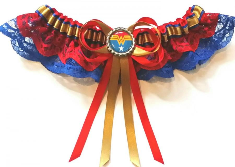 Свадьба - Wonder Woman Satin/Satin Frill/Satin and Lace Garter/Garter Set- Your choice of embellishment.