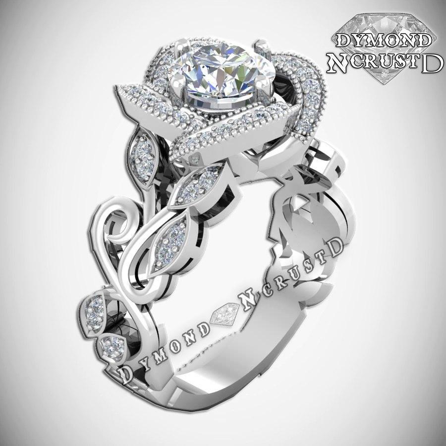 Mariage - Princess Belle Inspired Rose Flower Swarovski Sterling Silver or White Gold Engagement Ring