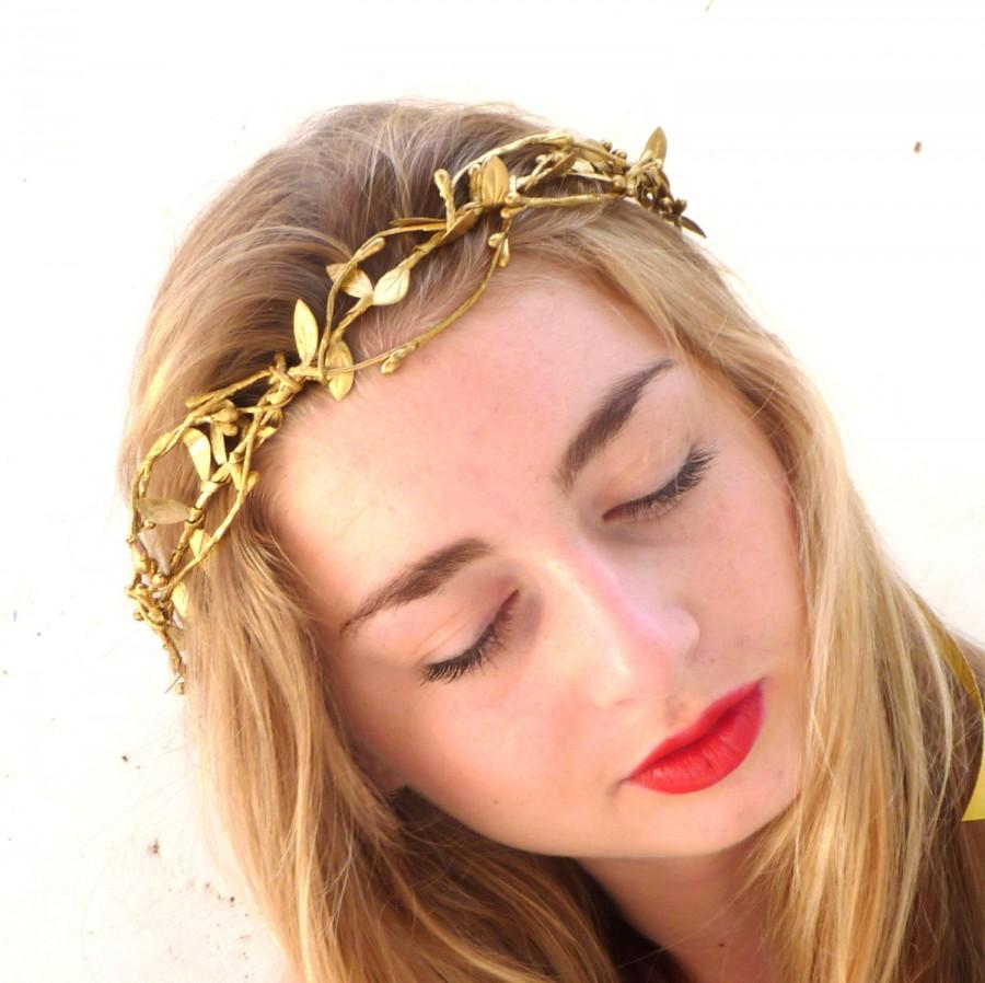 Mariage - Gold leaf Crown, Gold Headband, Woodland Headpiece,  Greek Goddess, Flower crown, Hair Wreath