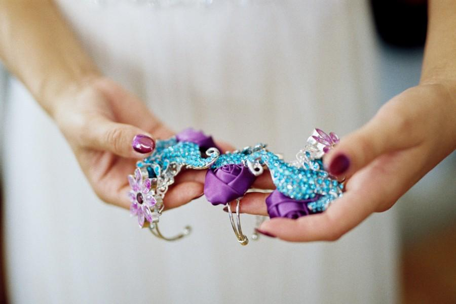 Mariage - ONE Bridal Brooch Wrist Corsage Bridesmaid Maid of Honor Mother of the Bride or Mother of the Groom Wrist Corsage Bracelet ANY COLORS