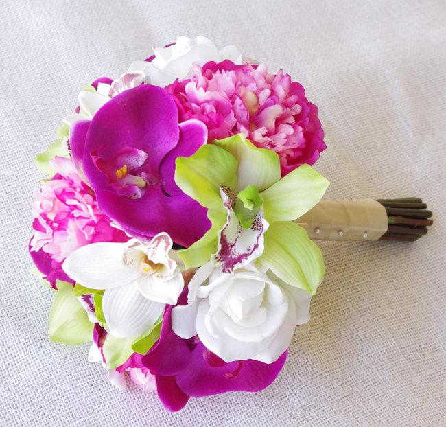 Mariage - Silk Wedding Bouquet Hot Pink Peonies and Green Cymbidiums Natural Touch Flowers Bridal Bouquet