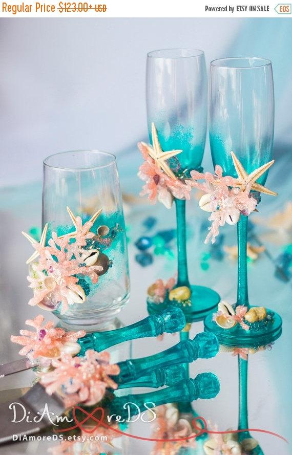 Mariage - SALE Sea wedding champagne glasses, cake server and knife, votive candles, сoral and turquoise, beach wedding, corral, seashells, starfish 5