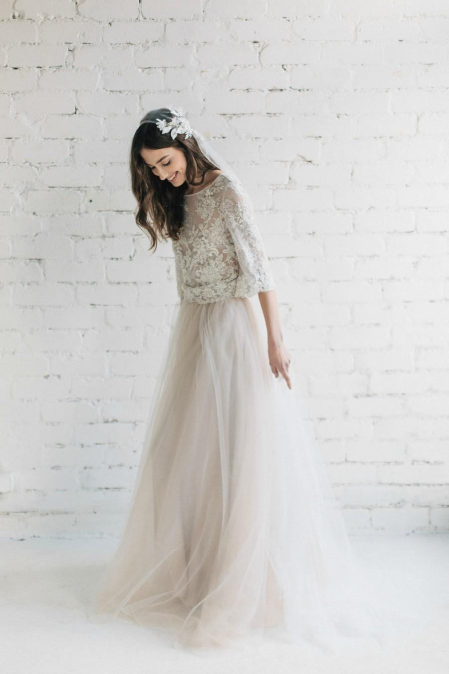 Mariage - Bohemian Wedding Dress, Two Piece Bridal Dress, Bridal Separates ,Pastel Champagne Ivory Nude Wedding Dress ,Lace Top , Tulle Skirt - Peony