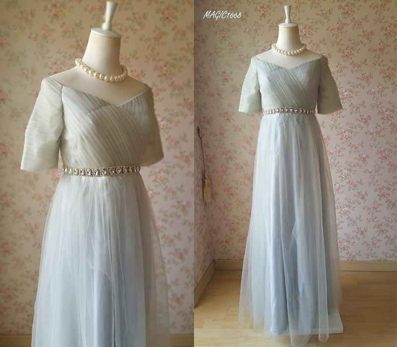 Свадьба - Gray Tutu Bridesmaid Dress Prom Dress. Long Bridesmaid Dress,Short Sleeve Prom Dress High Waist Wedding Dress. 2016 Floor Length Gray (BD26)