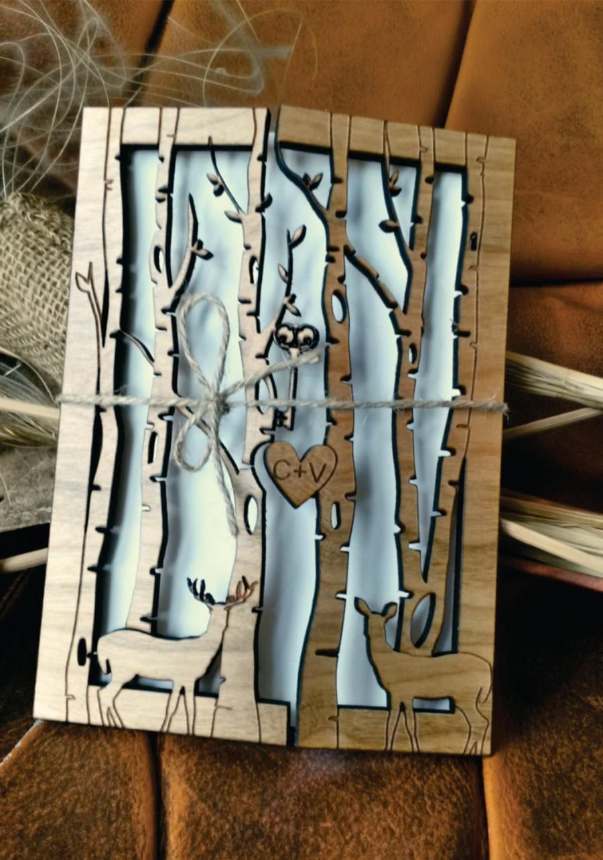 Свадьба - deer wedding invitation (30)/ wood wedding invitation / deer invitation wood/ beautiful rustic wedding invitation/ unique wedding invitation