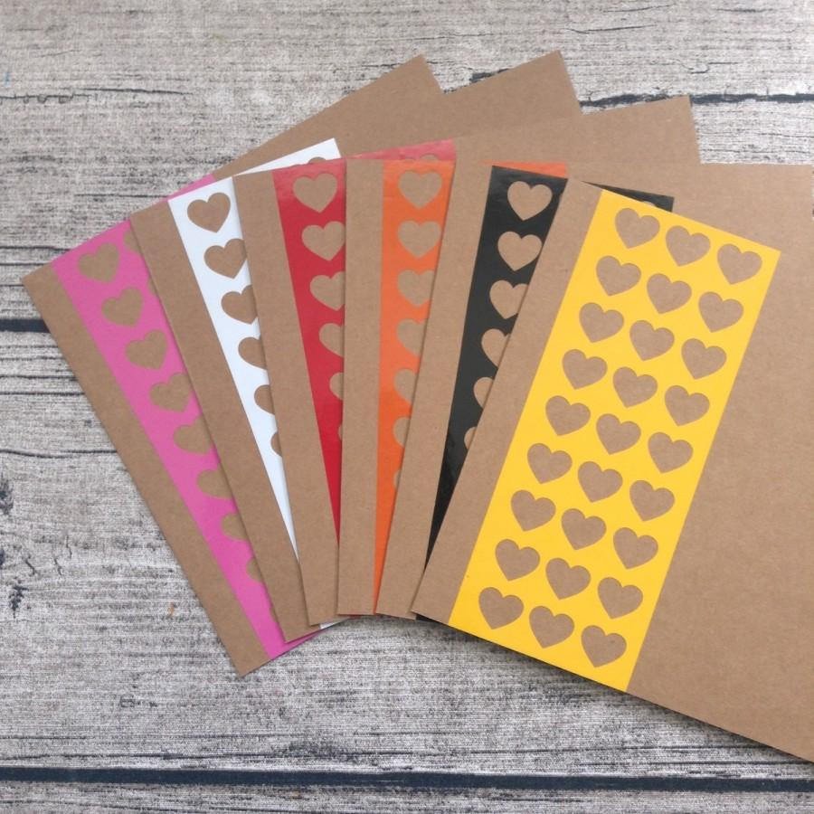 Свадьба - 6 heart wedding invitations, heart wedding invitation card set with envelopes, Bright wedding invitation