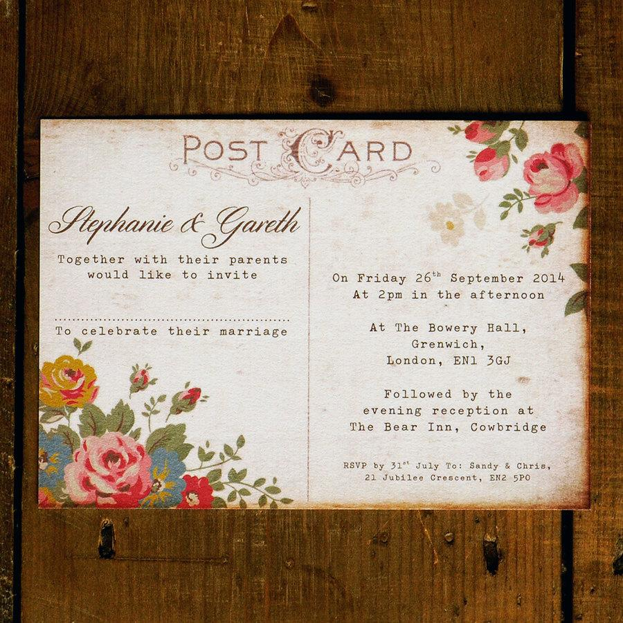 Shabby Chic Floral Illustration Postcard   Wedding Invitation Set On Luxury  Card   Wedding Invites, Wedding Invitations UK, Australia