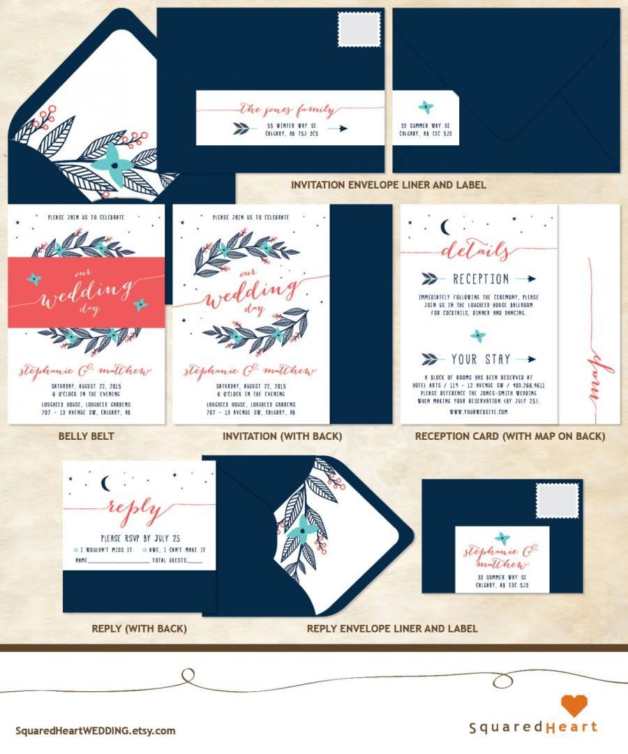 Свадьба - PERSONALIZED Printable Wedding Invitation Set