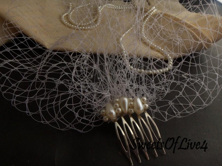 Mariage - FREE SHIPPING!!!Short Unfinished Edge Blusher Bridal Birdcage Veil - White, Diamond White,