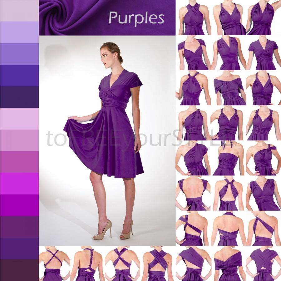 Short Convertible Dress In PURPLES, FULL Free-Style Dress, Ombre ...