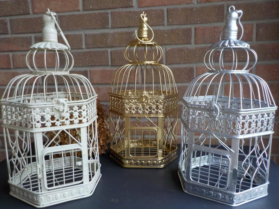 Money Cage >> Bird Cage Wedding Card Holder Ivory Gold Silver Birdcage Hexagon