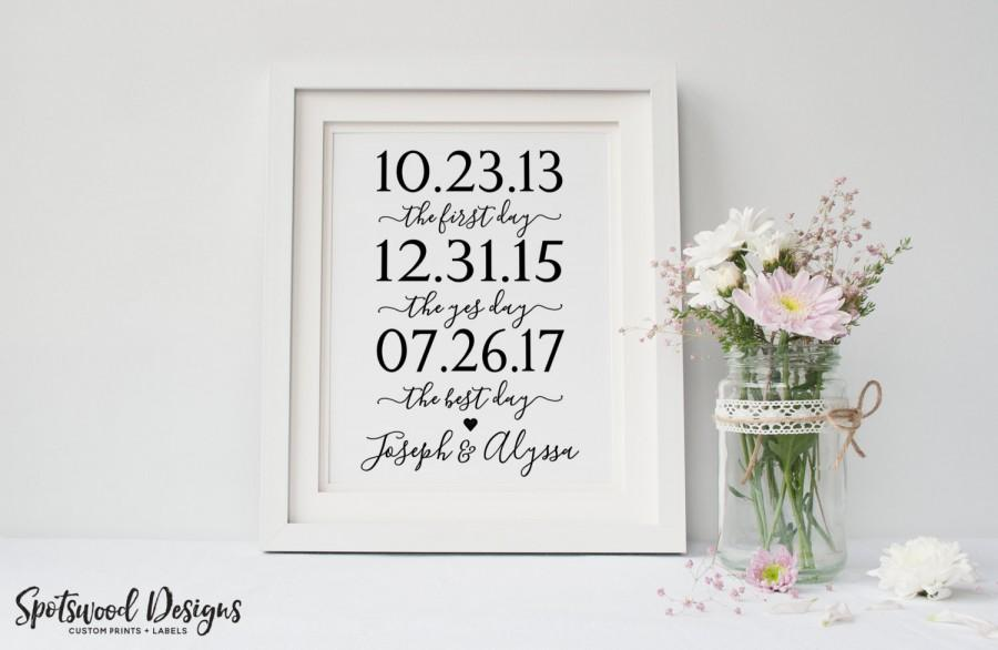 First Day Yes Day Best Day Custom Print Our Love Story