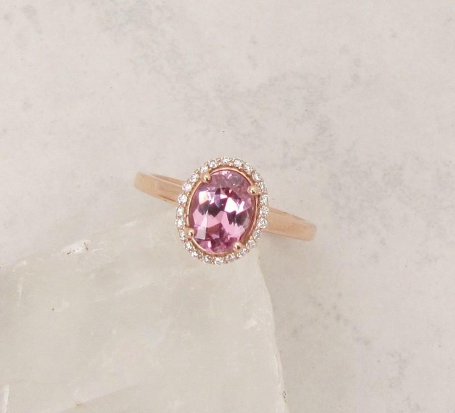 Hochzeit - Raspberry Pink Spinel 14k Rose Gold Diamond Halo Gemstone Ring