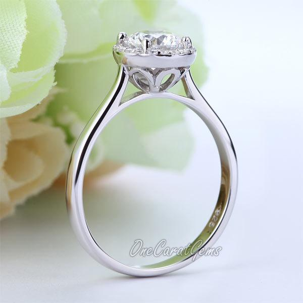 زفاف - 1 Carat Brilliant Cut Lab Made Diamond Halo 925 Sterling Silver Wedding Engagement Bridal Ring