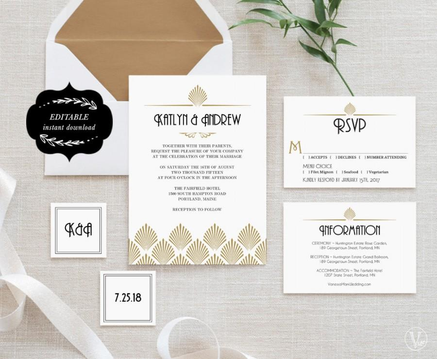 Art Deco Wedding Invitation Template Set Printable Wedding