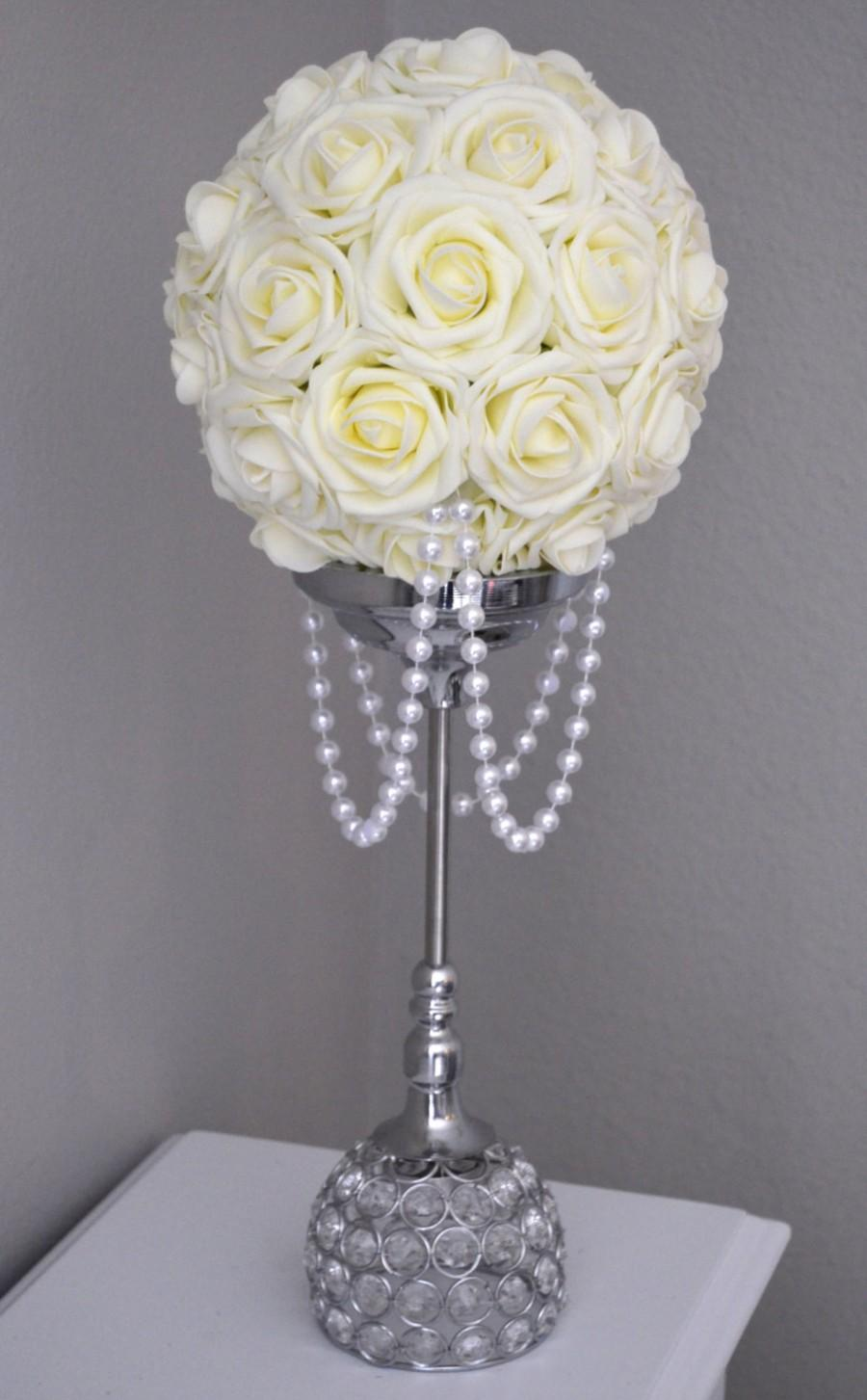 Hochzeit - IVORY Flower Ball With DRAPING PEARLS. Wedding Decor, Bridal Shower,  Flower Girl. Choose Your Rose Color.