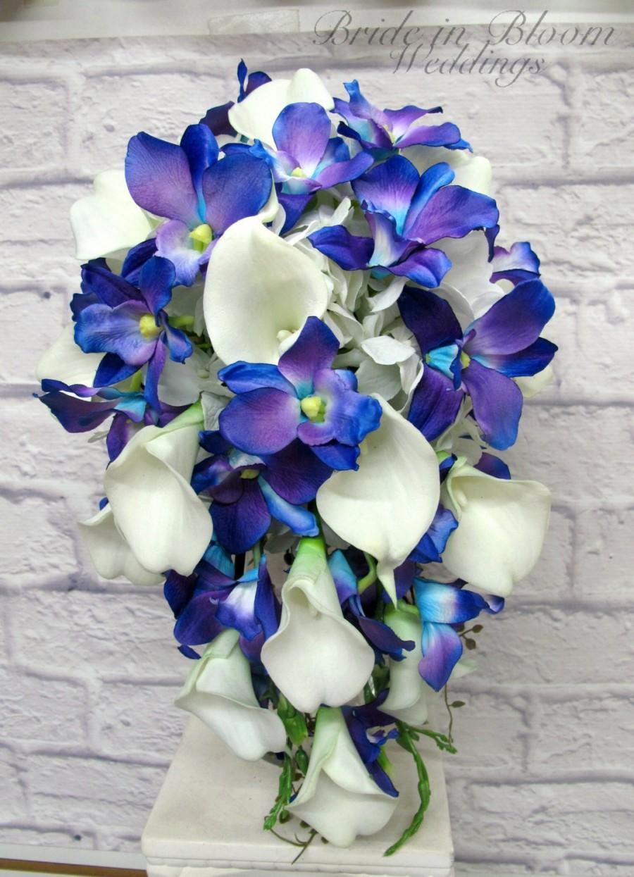 Mariage - Blue orchid cascade wedding bouquet brides bouquet
