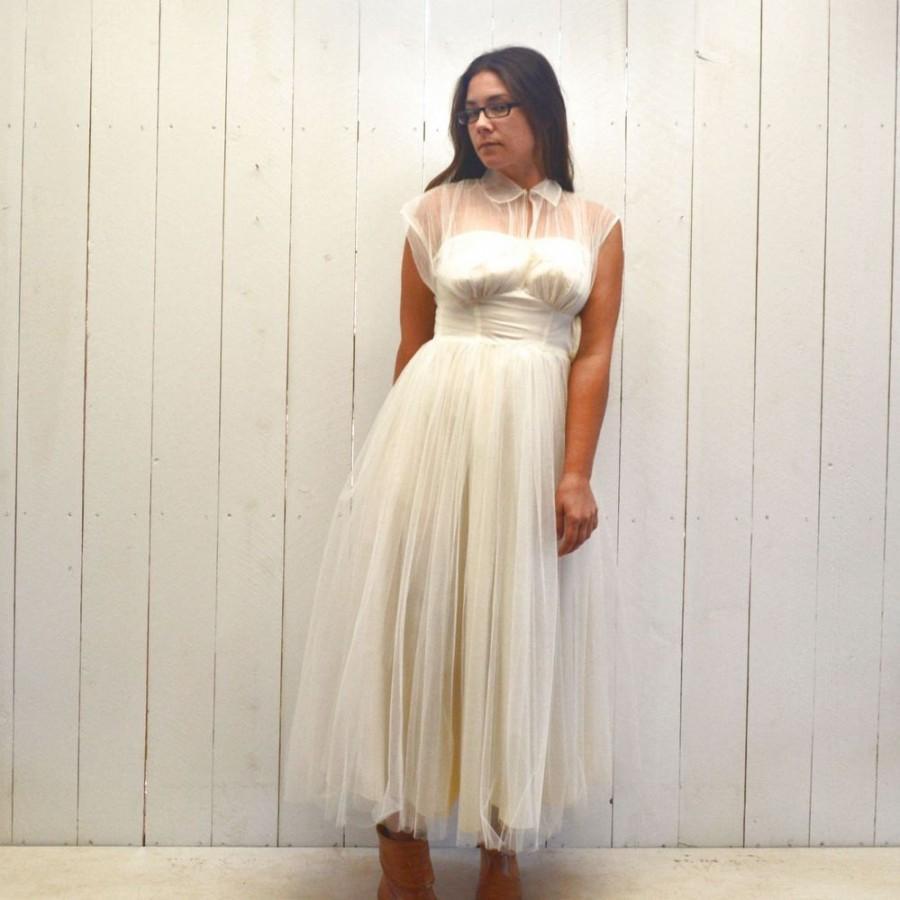 زفاف - Tulle Wedding Dress 1950s White Peter Pan Collar Vintage Tea Length Dress Extra Small XS