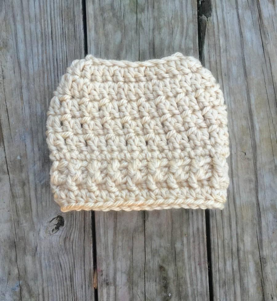 Wedding - Ready To Ship Tan Winter White Messy Bun Hat Beanie Women's Crochet Hat Winter Accessories