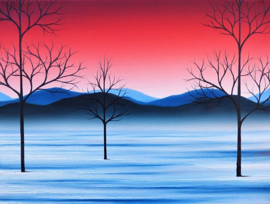 Hochzeit - Oil Painting, ORIGINAL Painting, Snowy Landscape Painting, Bare Tree Art, Winter Scene, Red Sky, Mountains, Whimsical Snow Wall Decor, 12x16