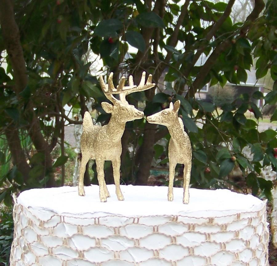 Mariage - Deer Cake Topper, Animal Wedding Cake Topper, Gold Deer Cake Topper,Hunting-Woodland-Forest Animal-