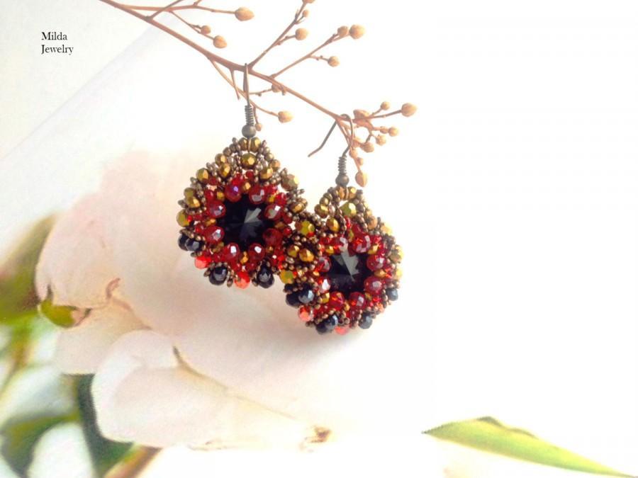 Chandelier Earrings Black Red Glass Beaded Dangle Drop Seed Bead Beadwork Jewelry Beadweaving Rivoli