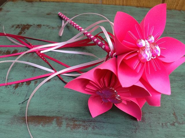 Wedding - Paper Flower Wand Bouquet in Bright Pink with Butterfly Gem Centers
