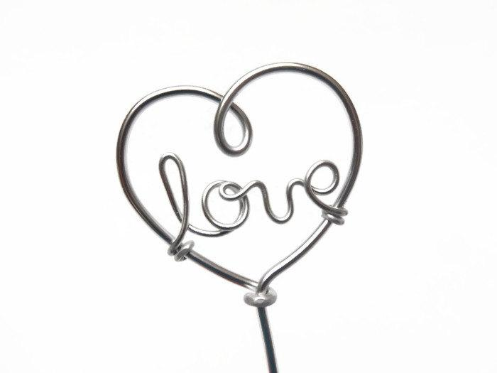 Love Wire Heart Cupcake Toppers Silver 6 Pieces Wedding Valentine
