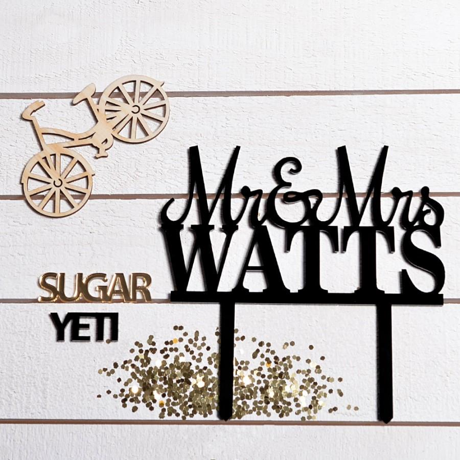 Personalized wedding cake topper mr and mrs last name