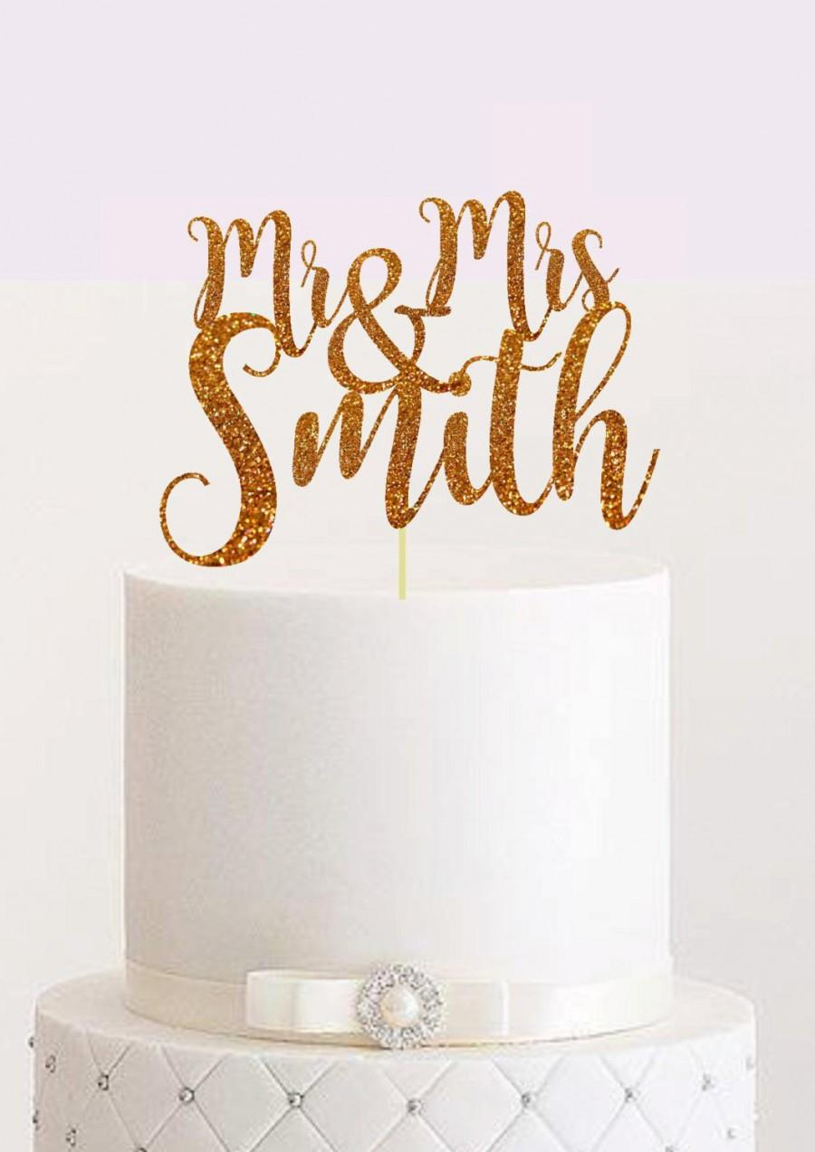 Wedding - Custom Wedding Cake Topper  Personalized Cake Topper Mr and Mrs Wedding Cake Topper Personalzed Name Wedding Cake Topper