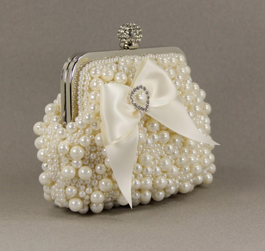 Mariage - Bridal Clutch - Exquisite Ivory Pearl Bridal Clutch adorned with a Lovely Satin Bow and Pearl & Rhinestone Accent - Pearl Purse