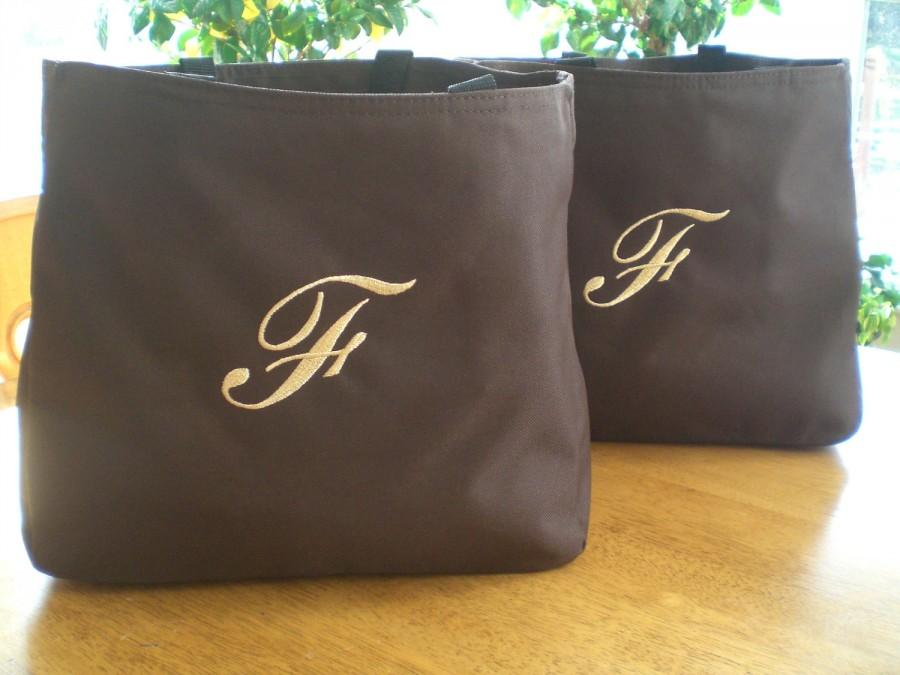 Mariage - Monogrammed Tote Bags Brown Custom Embroidery  Bridesmaid and Wedding Party Gift Gift
